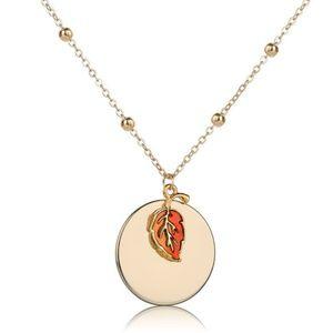 Jewelry - Fire Orange Leaf Gold Circle Pendant Necklace